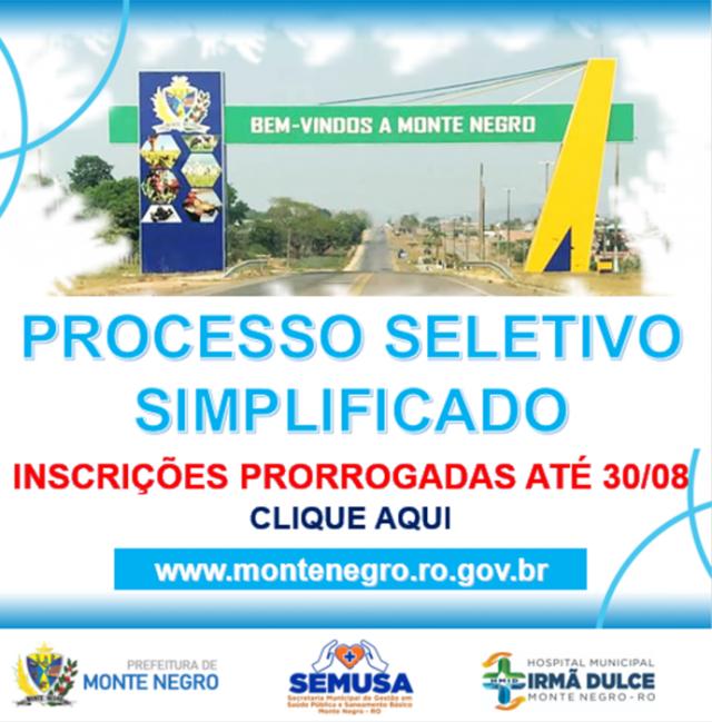 PRORROGAÇÃO DE INSCRIÇÕES - PSS SAÚDE
