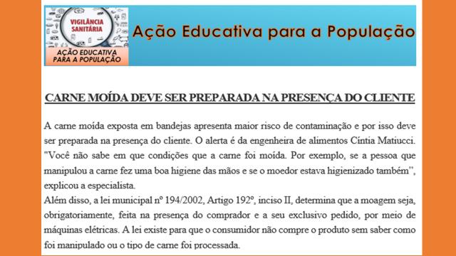 AÇÃO EDUCATIVA PARA A POPULAÇÃO.