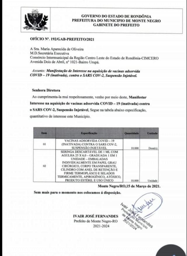 PREFEITURA DE MONTE NEGRO REALIZA PEDIDO DE VACINAS CONTRA (COVID 19)