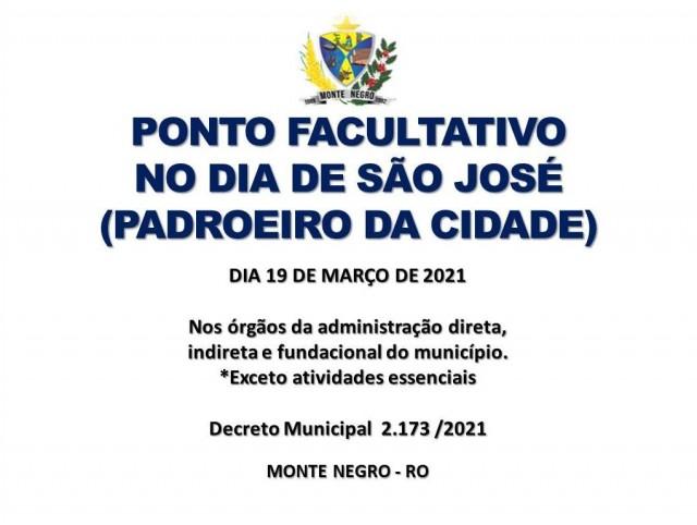 PONTO FACULTATIVO NO DIA DO PADROEIRO DA CIDADE DE MONTE NEGRO
