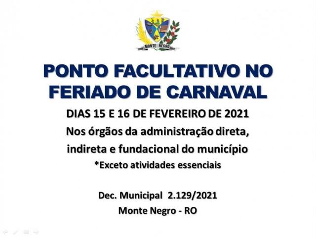 PONTO FACULTATIVO NO FERIADO DE CARNAVAL