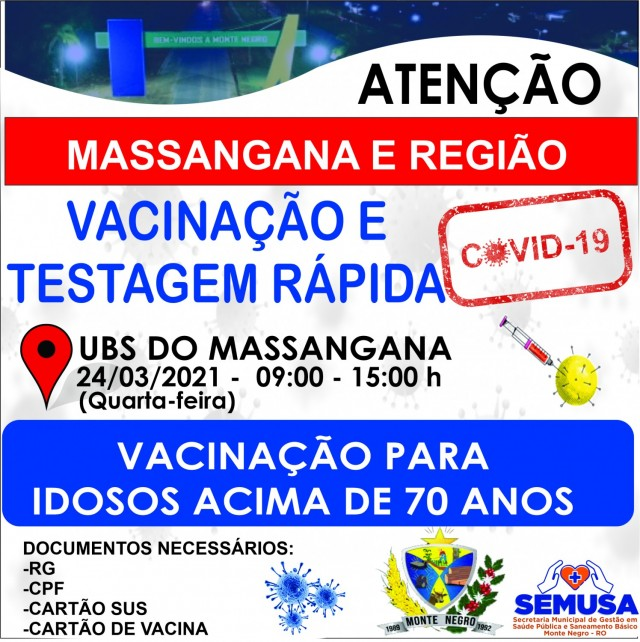 AÇÃO DE TESTAGEM E VACINAÇÃO CONTRA O COVID-19 NA REGIÃO DO MASSANGANA